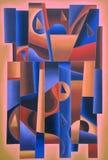 Rosa geometrico di arte di Digital, blu e marrone royalty illustrazione gratis
