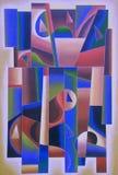 Rosa geometrico di arte di Digital, rosso e blu royalty illustrazione gratis
