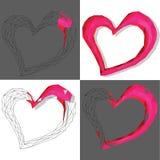 Rosa geometrisk hjärta, modell på den vita och gråa bakgrunden Royaltyfri Foto