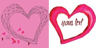 Rosa geometrisk hjärta på den vita bakgrunden Arkivbilder