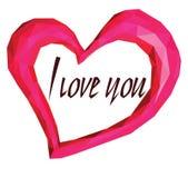 Rosa geometrisk hjärta på den vita bakgrunden och orden älskar jag dig Fotografering för Bildbyråer