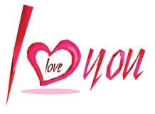 Rosa geometrisk hjärta på den vita bakgrunden och orden älskar jag dig Royaltyfria Foton