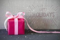 Rosa Geschenk, Kalligraphie, Schneeflocken, frohe Feiertage Stockfotografie