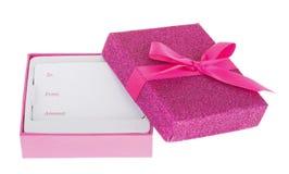 Rosa Geschenkbox Stockfoto