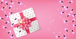Rosa Geschenkbox und Lichtgirlande Vektor realistisch Feiern Sie Liebeskarte r stock abbildung