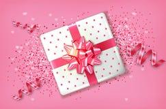 Rosa Geschenkbox-Vektor realistisch Confeti und Girlandenschein Produktplatzierungsspott oben Entwurf, der Illustration 3d verpac vektor abbildung
