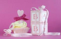 Rosa Geschenkboxen des Themababykleinen kuchens und -bevorzugung stockfotos