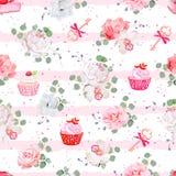 Rosa gestreiftes nahtloses Vektormuster mit frischem Gebäck, Blumensträußen von Blumen und Schlüsseln mit roten Bögen vektor abbildung