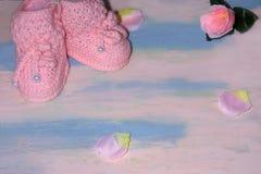 Rosa gestrickte Babyschuhbeuten auf einem rosa-blauen Holztisch mit mit den rosafarbenen Blumenblättern Neugeborenes Mitteilungsk lizenzfreie stockbilder