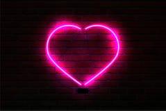Rosa glödande neonhjärta på bakgrund för tegelstenvägg royaltyfri illustrationer