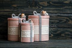 Rosa, Gray Ceramic Round Jars Set en fondo azul imagen de archivo libre de regalías