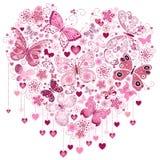 Rosa großes Herz des Valentinsgrußes stockbilder