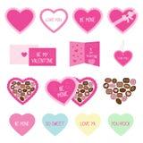 Rosa Gruß- und Süßigkeitsikonen des Valentinstags Stockbild