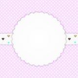 Rosa Grußkarte mit Herzen lizenzfreie abbildung