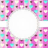 Rosa Grußkartenschablone mit Herzen Lizenzfreies Stockbild