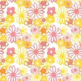 Rosa, gul och orange blom- sömlös modell Bohemisk tappningmodell i 60-tal och 70-talstil Flower power stock illustrationer