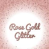 Rosa guld blänker bakgrund Rosa guld- brusanderam Runda konfettier Royaltyfri Bild