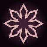 Rosa guld- blänker den fascinerande snöflingan Royaltyfri Bild