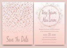 Rosa guld blänker den rosa inbjudan för det gifta sig kortet stock illustrationer