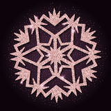 Rosa guld- blänker den nätta snöflingan Fotografering för Bildbyråer