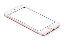 Rosa guld- roterande smartphonemodellCCW ligger på yttersidan royaltyfria foton