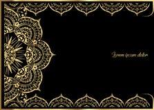 Rosa guld- tappninghälsningkort på svart bakgrund Lyxig prydnadmall Utmärkt för inbjudan, reklamblad, meny, broschyr royaltyfri illustrationer