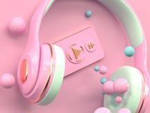 Rosa guld- tolkning för begrepp 3d för teknologi för headphonemusikunderhållning vektor illustrationer