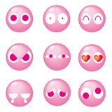 Rosa gullig emoticon 9set - stock illustrationer