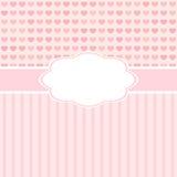 Rosa gulligt kort för vektor med hjärtor. Royaltyfria Foton