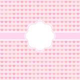 Rosa gulligt kort för vektor med hjärtor. Royaltyfri Fotografi