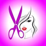 Rosa hår visar den Haircare frisyr och frisyren royaltyfri illustrationer