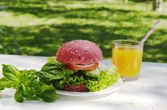 Rosa hamburgare, basilika och orange fruktsaft Arkivfoton