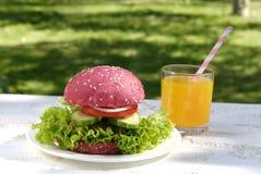 Rosa hamburgare och orange fruktsaft Royaltyfria Foton