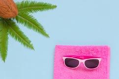 Rosa handduk, exponeringsglas, palmblad, kokosnöt över blå bakgrund Royaltyfria Foton