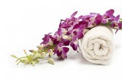 rosa handduk för orchid Royaltyfri Fotografi