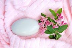 rosa handduk för tvål 2 arkivfoto