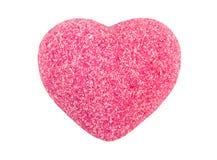 Rosa handgemachte Seife in Form des Herzens auf weißem Hintergrund Handgemachte Seife Lizenzfreie Stockfotografie