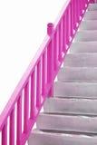 Rosa Handgriff auf Treppenhaus Stockfotos