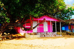 Rosa Haus Stockfoto