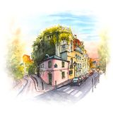 Rosa Haus, Montmartre, Paris, Frankreich stock abbildung