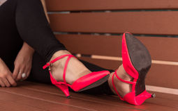 Rosa Heel Shoes. On a Bench of Hong Kong Island Royalty Free Stock Photography