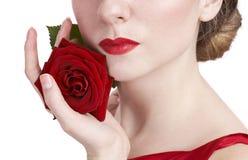 Rosa hermosa y labios rojos Fotos de archivo