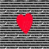Rosa Herz auf gestreiftem Muster des nahtlosen Vektors Stockfotografie
