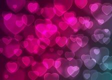 Rosa Herz bokeh Hintergrundvektor, abstrakter Feiertagshintergrund Lizenzfreies Stockfoto