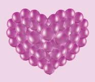 Rosa Herz der Ballone Stockfotos