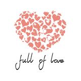 Rosa Herz mit dem Zitat voll von der Liebe stock abbildung