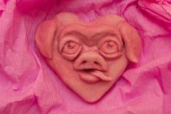 Rosa Herz mit lustiger Mündung das Schwein Lizenzfreie Stockfotografie