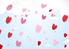 Rosa Herz zwei Nette Herzen und Fallen zum Himmel Stockfoto