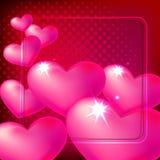 Rosa Herzen auf dunkelrotem Hintergrund mit glänzendem Rahmen Lizenzfreie Stockfotografie