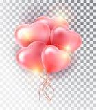 Rosa Herzsatz des Ballons Symbol der Liebe Geschenk Tag des Valentinsgruß-s Realistischer Gegenstand 3d des Vektors Lokalisierter Stockfotografie